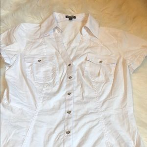 Express Collared White Button Down